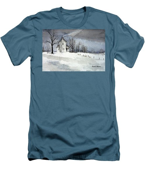 Farmhouse In Winter Men's T-Shirt (Athletic Fit)