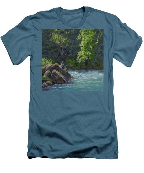Men's T-Shirt (Slim Fit) featuring the painting Favorite Spot by Karen Ilari