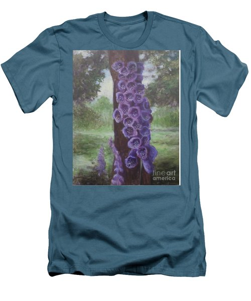 Men's T-Shirt (Slim Fit) featuring the painting Foxglove by Randol Burns