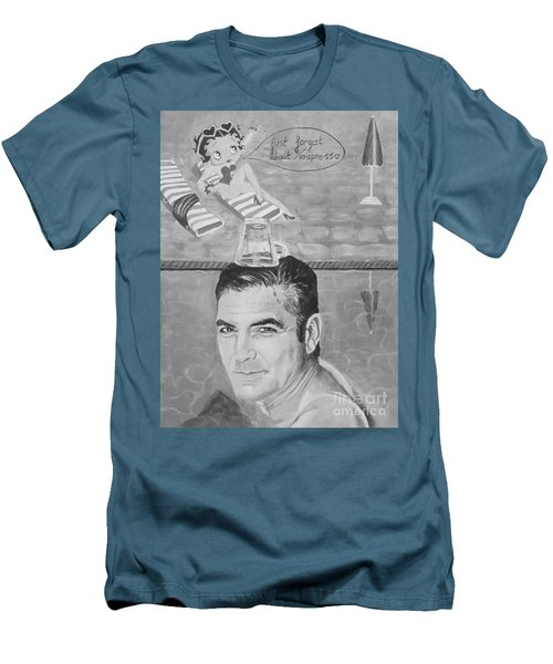 Men's T-Shirt (Slim Fit) featuring the painting George Clooney by Jeepee Aero