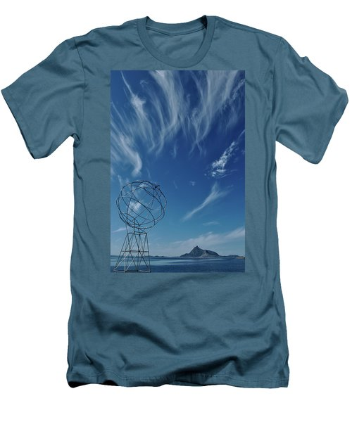Globe Symbol View  On Sky Background In Norway Men's T-Shirt (Slim Fit) by Tamara Sushko