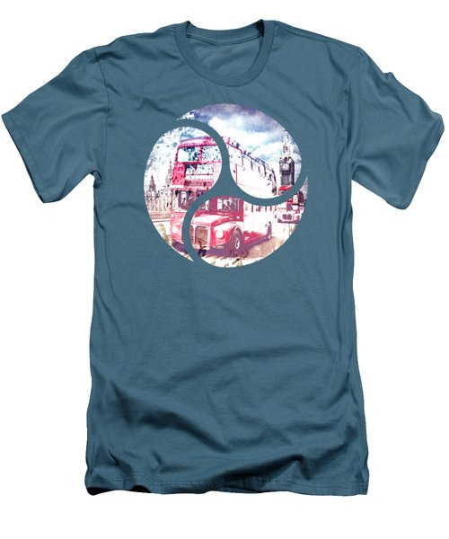 Graphic Art London Westminster Bridge Streetscene Men's T-Shirt (Slim Fit) by Melanie Viola