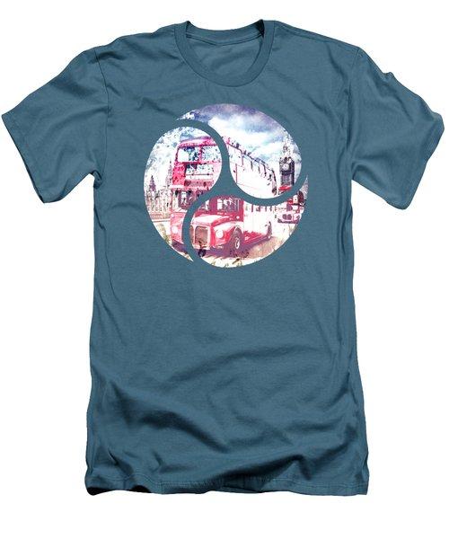Graphic Art London Westminster Bridge Streetscene Men's T-Shirt (Slim Fit) by Melanie Viola