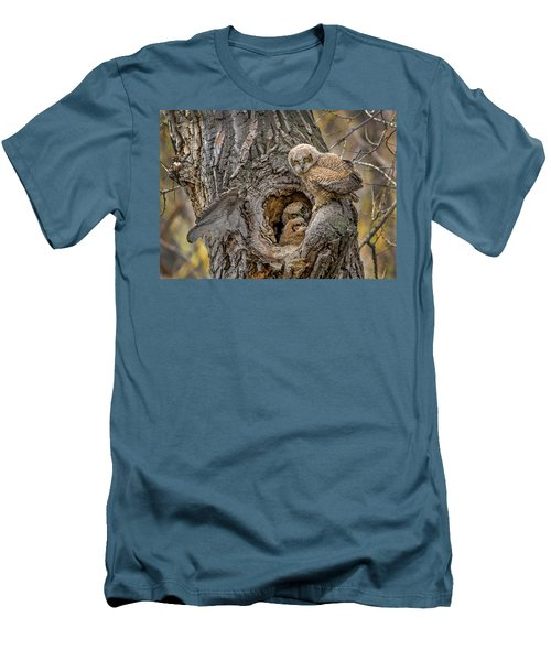 Great Horned Owlets In A Nest Men's T-Shirt (Athletic Fit)