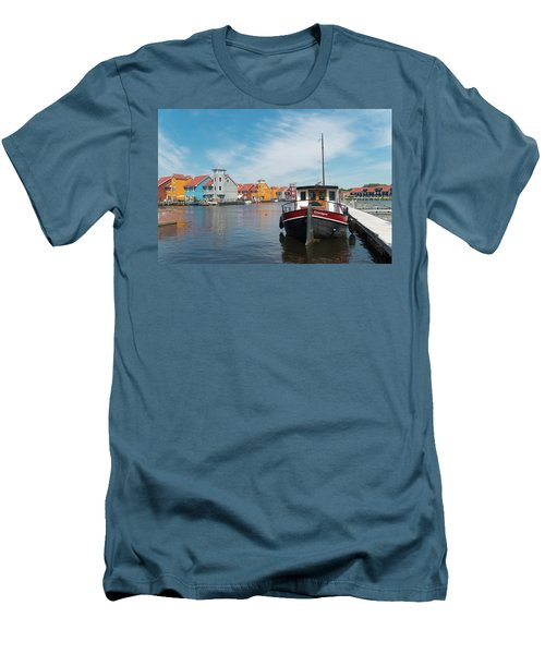 Men's T-Shirt (Slim Fit) featuring the photograph Harbor In Groningen by Hans Engbers