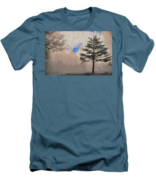 Men's T-Shirt (Slim Fit) featuring the mixed media Hickory by Trish Tritz