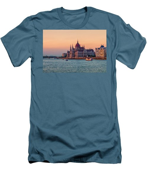 Hungarian Parliament Building In Budapest, Hungary Men's T-Shirt (Slim Fit) by Elenarts - Elena Duvernay photo