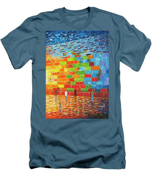 Men's T-Shirt (Athletic Fit) featuring the painting Jerusalem Wailing Wall Original Acrylic Palette Knife Painting by Georgeta Blanaru