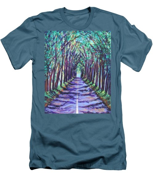 Men's T-Shirt (Slim Fit) featuring the painting Kauai Tree Tunnel by Marionette Taboniar