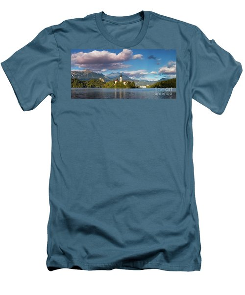 Men's T-Shirt (Slim Fit) featuring the photograph Lake Bled Panoramic by Brian Jannsen