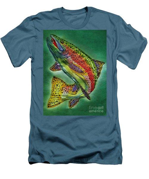 Leaping Trout Men's T-Shirt (Slim Fit) by Scott D Van Osdol