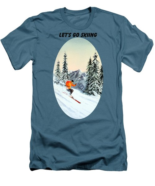Let's Go Skiing Men's T-Shirt (Slim Fit) by Bill Holkham