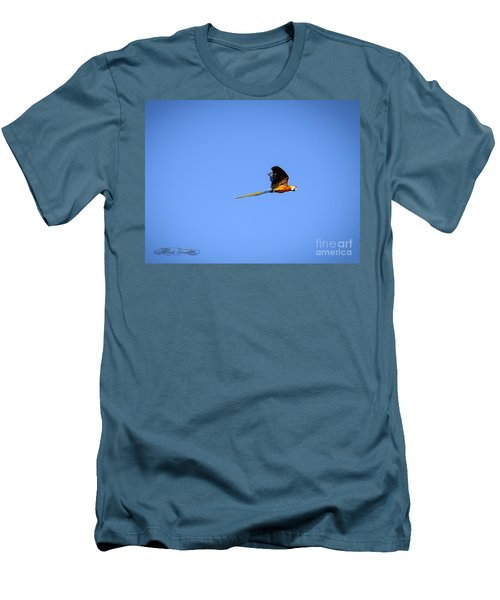 Macaw In Flight Men's T-Shirt (Slim Fit) by Melissa Messick