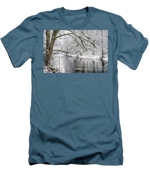 Men's T-Shirt (Slim Fit) featuring the photograph March Snow Along Cranberry River by Thomas R Fletcher