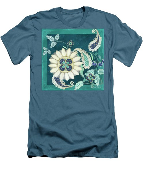 Men's T-Shirt (Athletic Fit) featuring the painting Moroccan Paisley Peacock Blue 1 by Audrey Jeanne Roberts