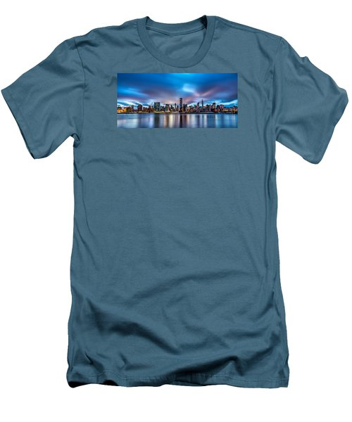 Men's T-Shirt (Slim Fit) featuring the photograph New York City Skyline by Rafael Quirindongo