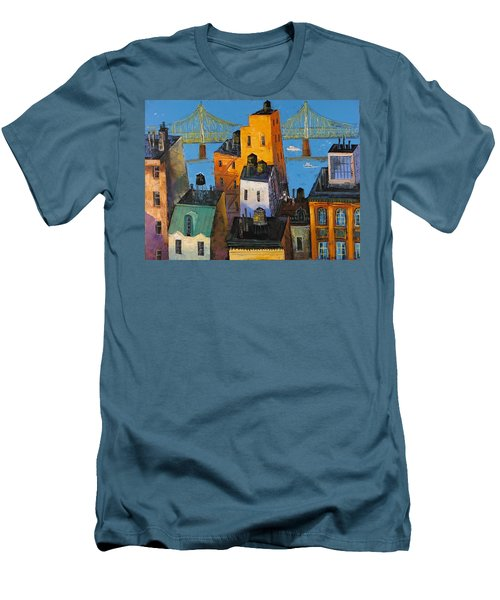 Men's T-Shirt (Slim Fit) featuring the painting New York by Mikhail Zarovny