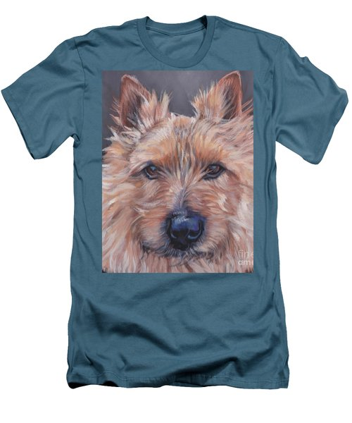 Men's T-Shirt (Slim Fit) featuring the painting Norwich Terrier by Lee Ann Shepard