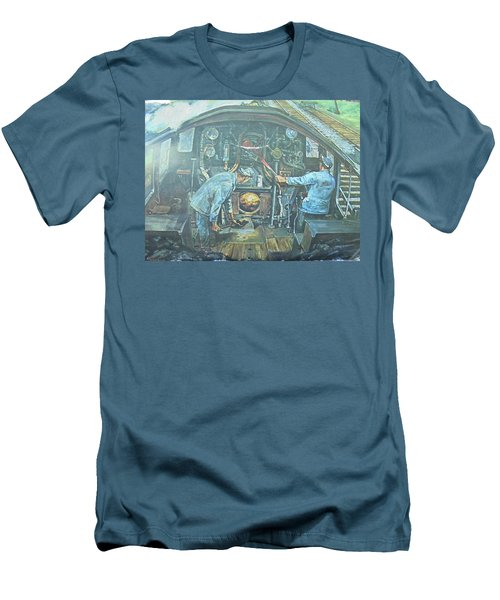 Men's T-Shirt (Slim Fit) featuring the painting On The Footplate by Mike Jeffries