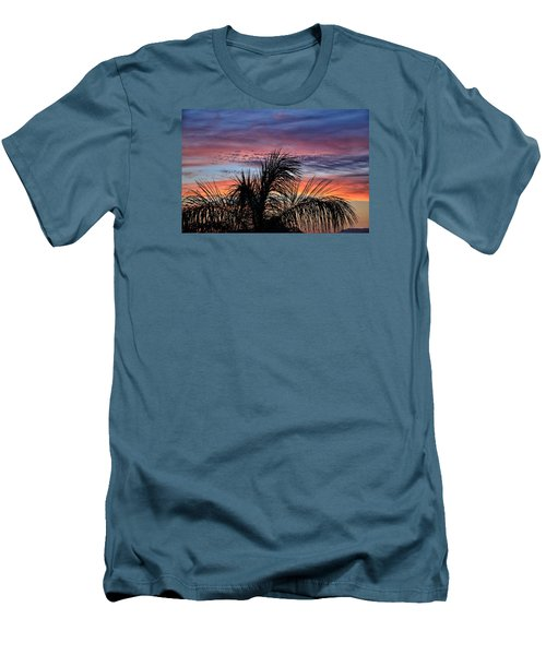 Men's T-Shirt (Slim Fit) featuring the photograph Palm Tree Sunrise by Nikki McInnes