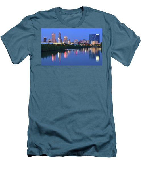 Panoramic Indianapolis Men's T-Shirt (Slim Fit) by Frozen in Time Fine Art Photography