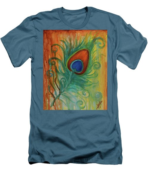 Men's T-Shirt (Slim Fit) featuring the painting Peacock Feather by Agata Lindquist