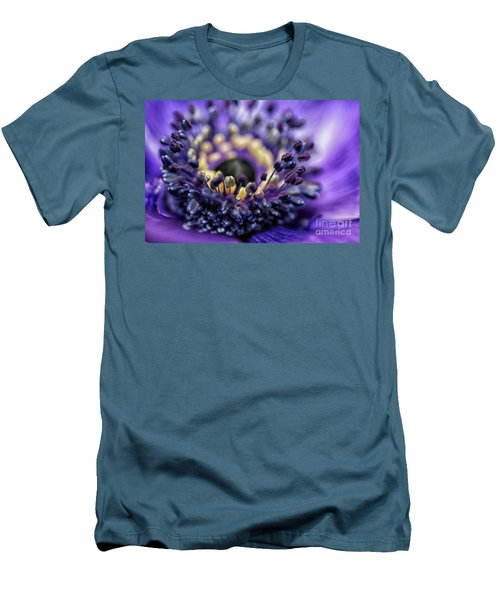 Purple Heart Of A Flower Men's T-Shirt (Slim Fit) by Patricia Hofmeester