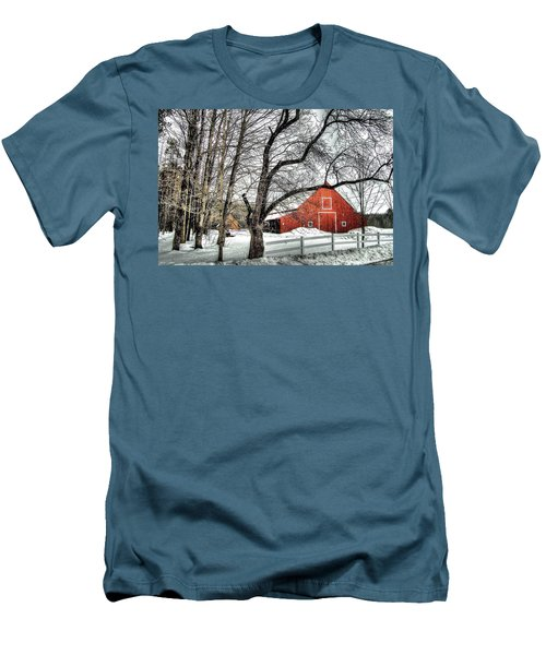 Red And White Men's T-Shirt (Slim Fit) by Betsy Zimmerli