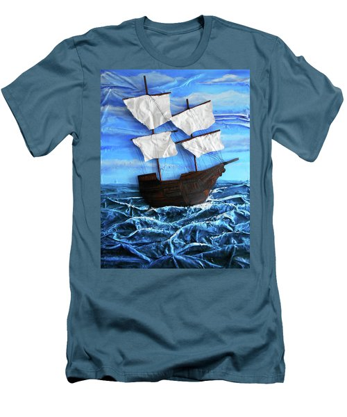 Men's T-Shirt (Slim Fit) featuring the mixed media Ship by Angela Stout
