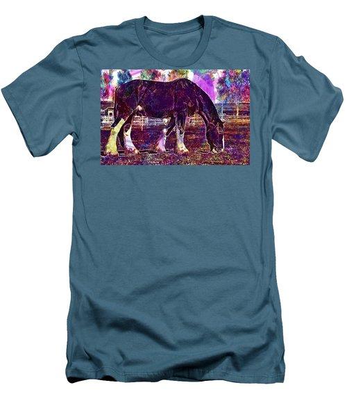 Men's T-Shirt (Athletic Fit) featuring the digital art Shire Horse Horse Coupling  by PixBreak Art