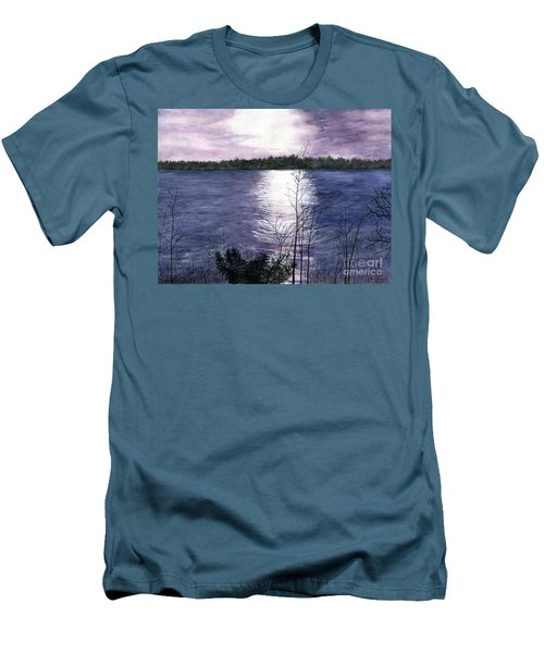 Men's T-Shirt (Slim Fit) featuring the painting Sunset At Niagara River New York by Melly Terpening