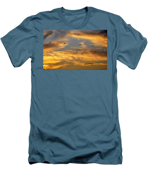 Sunset Flight Men's T-Shirt (Slim Fit) by AJ Schibig