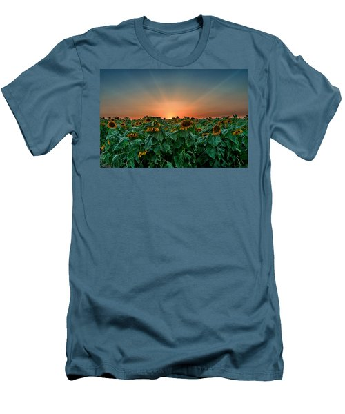 Sunset Over A Sunflowers Field Men's T-Shirt (Athletic Fit)