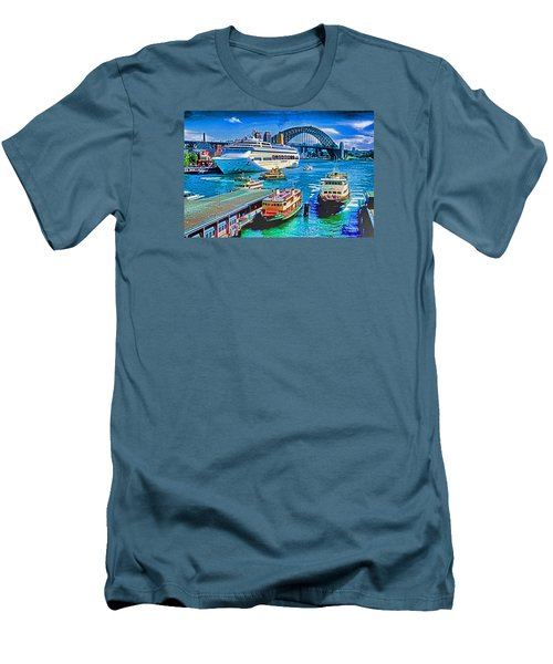 Men's T-Shirt (Slim Fit) featuring the photograph Sydney Quay by Dennis Cox WorldViews