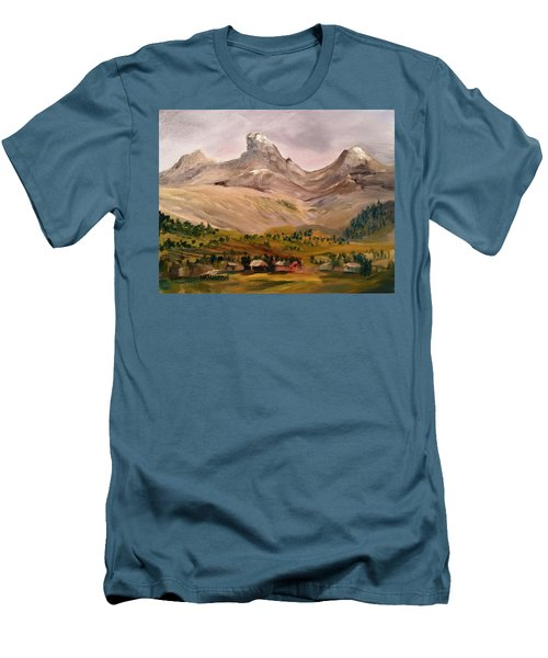 Tetons From The West Men's T-Shirt (Slim Fit) by Larry Hamilton