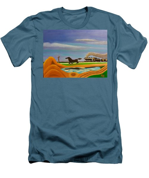 Men's T-Shirt (Slim Fit) featuring the painting The Race by Margaret Harmon