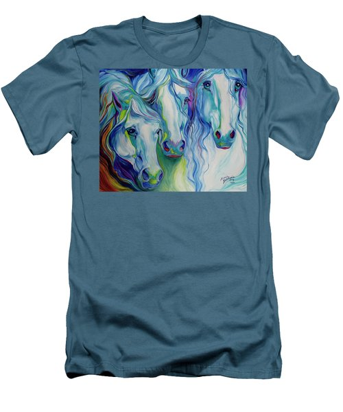 Three Spirits Equine Men's T-Shirt (Slim Fit) by Marcia Baldwin