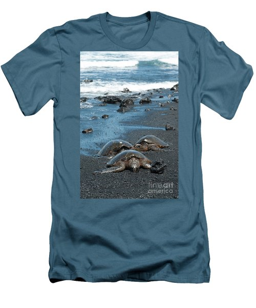 Turtles On Black Sand Beach Men's T-Shirt (Athletic Fit)