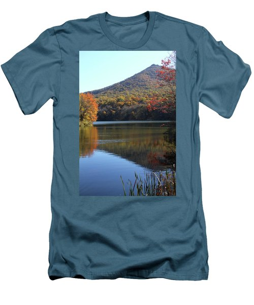 Men's T-Shirt (Slim Fit) featuring the photograph View Of Abbott Lake And Sharp Top In Autumn by Emanuel Tanjala