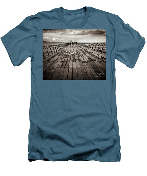 Men's T-Shirt (Slim Fit) featuring the photograph Walking The Pier by Perry Webster