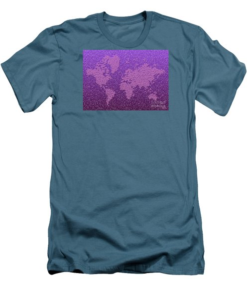 World Map Kotak In Purple Men's T-Shirt (Athletic Fit)