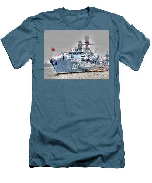 Men's T-Shirt (Slim Fit) featuring the pyrography Yury Bashkin War Ship by Yury Bashkin