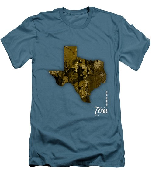 Texas State Map Collection Men's T-Shirt (Slim Fit) by Marvin Blaine