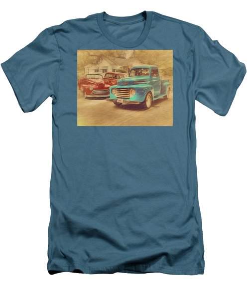 1950 Ford Truck Classic Cars - Homecoming Men's T-Shirt (Slim Fit) by Rebecca Korpita