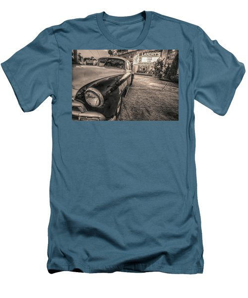 Men's T-Shirt (Slim Fit) featuring the tapestry - textile 1952 Chevy Black And White by Kathy Adams Clark