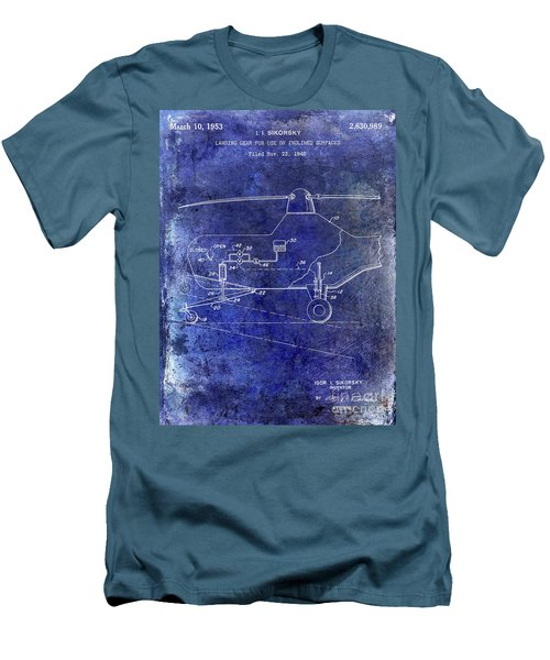 1953 Helicopter Patent Blue Men's T-Shirt (Slim Fit)