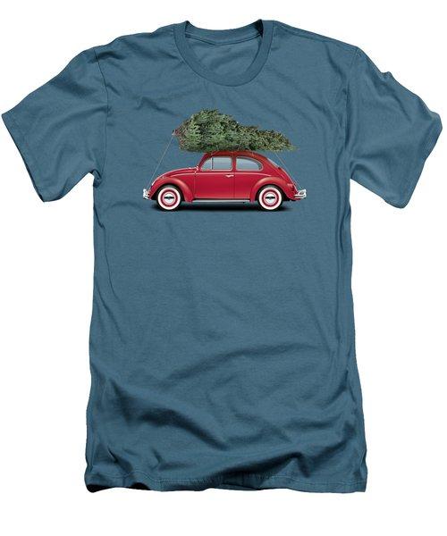 1962 Volkswagen Deluxe Sedan - Ruby Red W/ Christmas Tree Men's T-Shirt (Slim Fit) by Ed Jackson