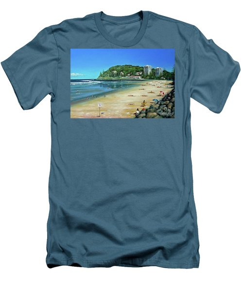 Men's T-Shirt (Slim Fit) featuring the painting Burleigh Beach 100910 by Selena Boron