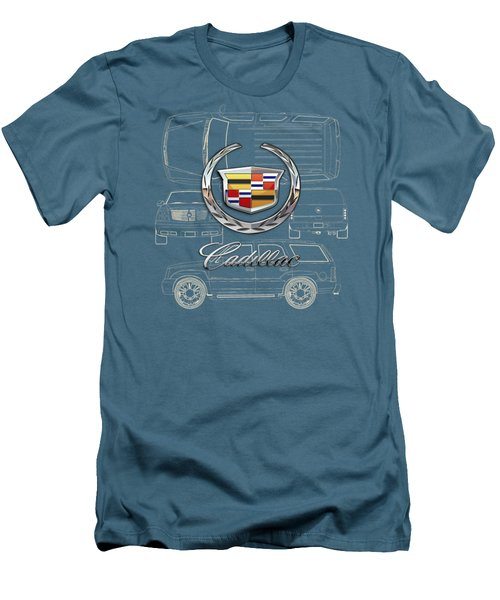 Cadillac 3 D Badge Over Cadillac Escalade Blueprint  Men's T-Shirt (Athletic Fit)