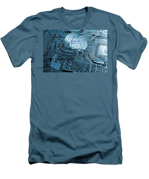 Human Brain And Communication Men's T-Shirt (Slim Fit) by Christian Lagereek
